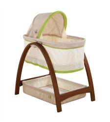 Summer Infant Bentwood Bassinet With Swaying Motion in Lime Trim